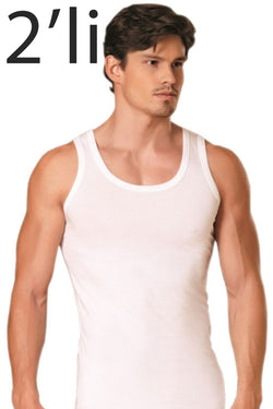 Men's White Combed Cotton Undershirt- 2 Pieces