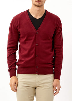 Men's Buttoned Claret Red Basic Cardigan