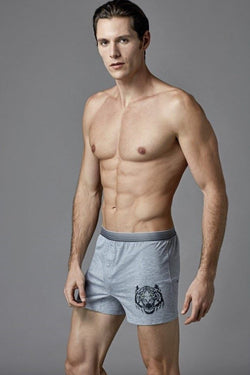 Men's Printed Melange Grey Combed Cotton Boxer