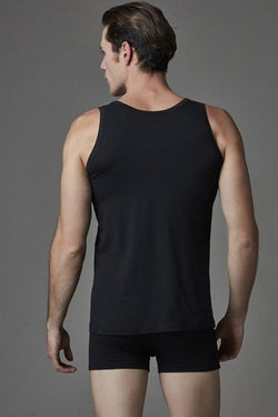 Men's Black Lycra Sleeveless Undershirt Boxer Set