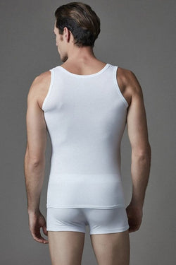 Men's White Lycra Sleeveless Undershirt Boxer Set