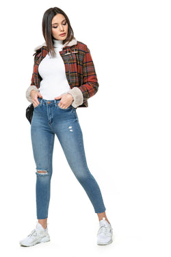 Women's Ripped Knee Blue Denim Jeans Pants