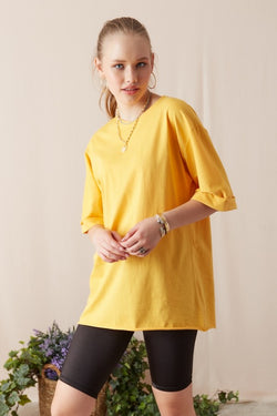Women's Wide Cut Roll-up Sleeves Yellow T-shirt