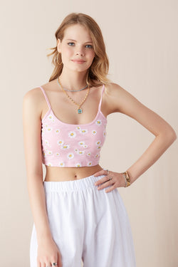 Women's Strappy Daisy Pattern Crop Blouse