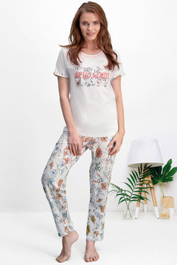 Women's Oversize Short Sleeves Cream Pajama Set