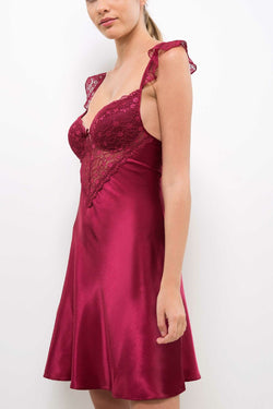 Women's Lace Detail Claret Red Mini Nightgown
