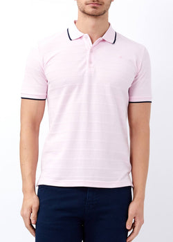 Men's Striped Powder Rose Polo Neck T-shirt