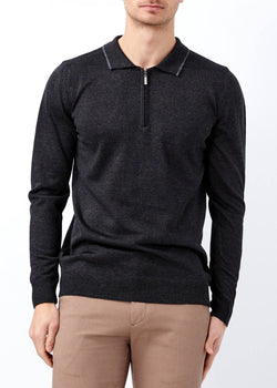 Men's Polo Neck Zipped Sweater