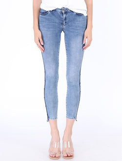 Women's Side Striped Blue Skinny Jeans