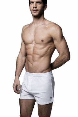 Men's Button White Combed Cotton Boxer