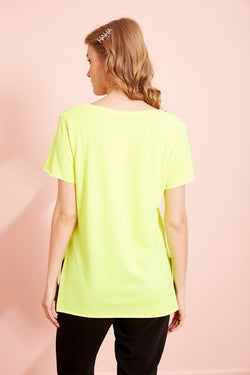Women's V Neck Slit Yellow T-shirt