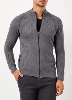 Men's Mock-Turtleneck Dark Grey Tricot Cardigan