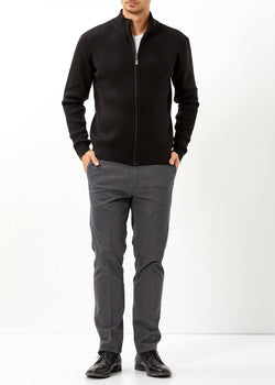 Men's Oversize Zipped Black Cardigan