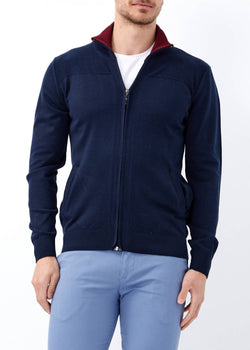 Men's Zipped Navy Blue Cardigan