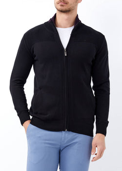 Men's Zipped Black Cardigan