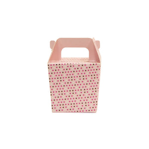 Takeaway Box with Handle Pink with Spots