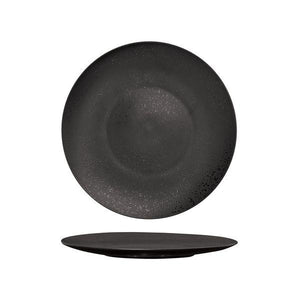Luzerne Lava Black Round Flat Coupe Plate