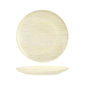 Luzerne Linen Reactive White Round Flat Coupe Plate