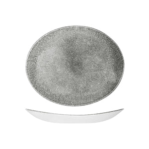 9976227-QB Studio Prints Raku Quartz Black Oval Coupe Plate 270x229mm Leisure Coast Hospitality & Packaging