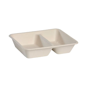 B-LB-2C-N BioPak 2 Compartment Takeaway Natural Coloured 240x180x50mm / 380ml & 530ml Leisure Coast Hospitality & Packaging Supplies
