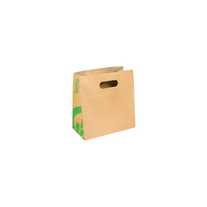 BAG-TA-D-SMALL BioPak BioBag Small Kraft Paper Carry Bag with Die Cut Handles Leisure Coast Hospitality & Packaging Supplies