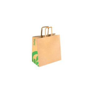BAG-TA-F-SMALL BioPak BioBag Small Kraft Paper Carry Bag with Flat Handles Leisure Coast Hospitality & Packaging Supplies