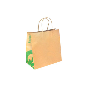BAG-TA-T-LARGE BioPak BioBag Large Kraft Paper Carry Bag with Twist Handles Leisure Coast Hospitality & Packaging Supplies