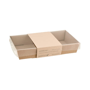 Greenmark, Small Low Rectangular Catering Tray Kraft Base Leisure Coast Hospitality and Packaging