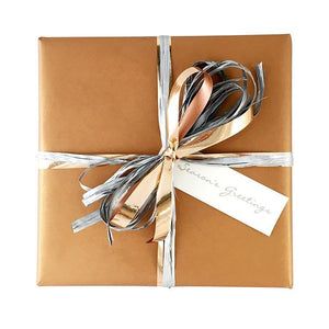 BW BK COP Christmas Gift Wrap Metallic On Kraft Wrap Copper Leisure Coast Hospitality & Packaging Supplies