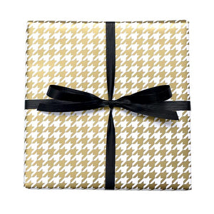 BW HT GOL Houndstooth Gift Wrap Gold & White Gift Wrap Leisure Coast Hospitality & Packaging Supplies