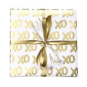BW KH GOL Hugs & Kisses Gift Wrap Hugs & Kisses White & Gold Gift Wrap Leisure Coast Hospitality & Packaging Supplies