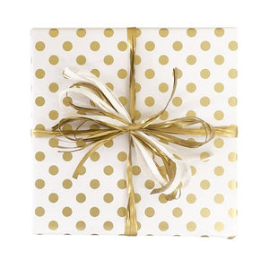 BW SP WG Christmas Gift Wrap Spot Wrap White Gold Leisure Coast Hospitality & Packaging Supplies