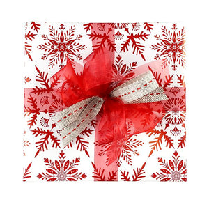 BW XSF RED Gift Wrap Christmas Snowflake Red on White Leisure Coast Hospitality & Packaging