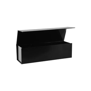 Collapsible Single Wine Box with Hinge Lid Black