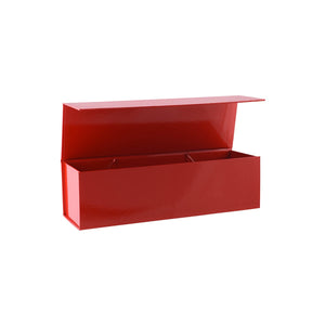 Collapsible Single Wine Box with Hinge Lid Red