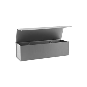 Collapsible Single Wine Box with Hinge Lid Silver
