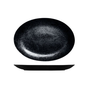 RK4320-BK RAK Porcelain Karbon Black Oval Coupe Plate 320x230mm Leisure Coast Hospitality & Packaging