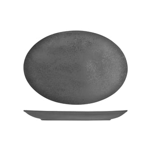 RK4320-GY RAK Porcelain Karbon Shale Oval Coupe Plate 320x230mm Leisure Coast Hospitality & Packaging