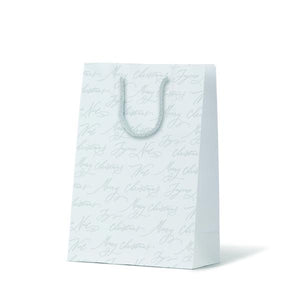 X20 ESWT Christmas Gift Bag Christmas Embossed Script White Leisure Coast Hospitality & Packaging Supplies
