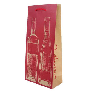 XBDW12 Christmas Paper Double Wine Bag Red and Kraft Leisure Coast Hospitality & Packaging Supplies