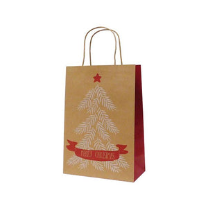 XBJ14 Christmas Gift Bag Christmas Tree Print on Kraft Leisure Coast Hospitality & Packaging Supplies