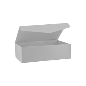 Collapsible Hamper Box with Hinge Lid Silver