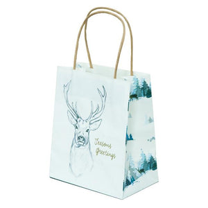 XWT7 Christmas Gift Bag Stag Print on White Leisure Coast Hospitality & Packaging Supplies
