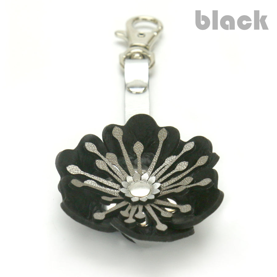 Black Flower Purse Charm/Key Chain made from vegan leather