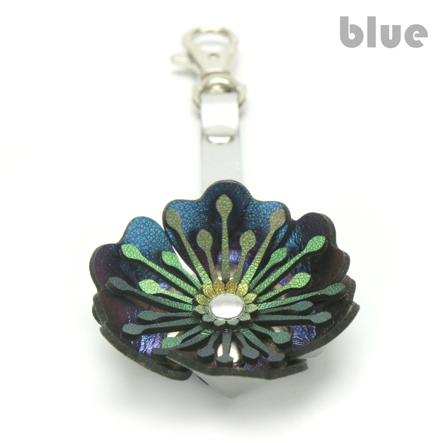 Blue Flower Purse Charm/Key Chain Made From Vegan Leather