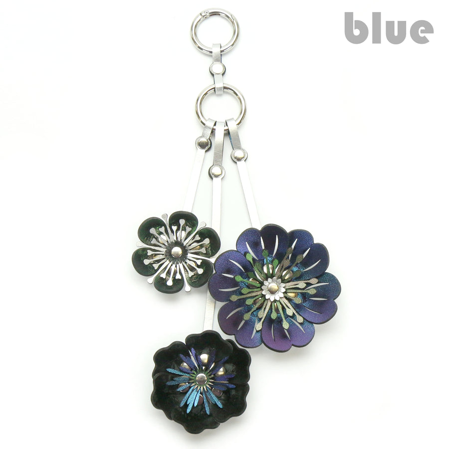 Blue Iridescent Three Flower Purse Charm with silver hardware
