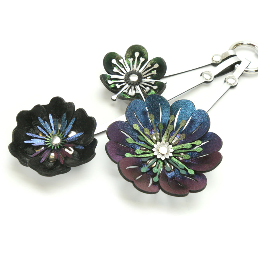 Iridescent Flower Purse Charm with silver hardware