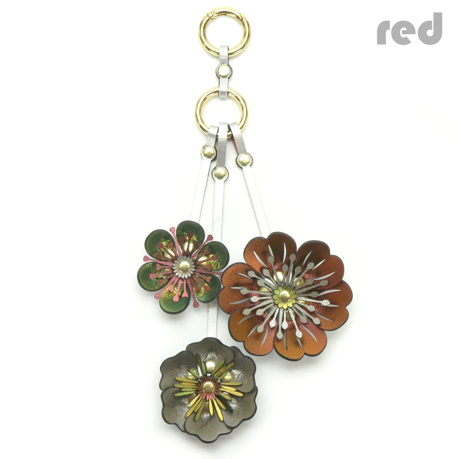 Red Iridescent Three Flower Purse Charm with gold hardware