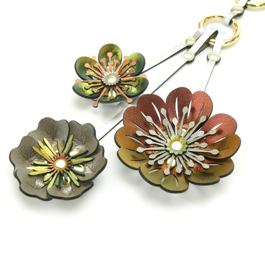 Iridescent Flower Purse Charm with gold hardware