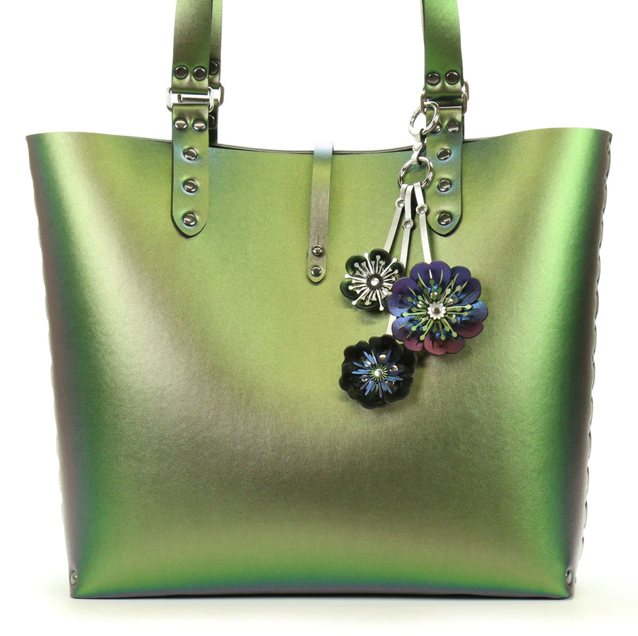 Emerald Tote Bag with Blue Flower Purse Charm